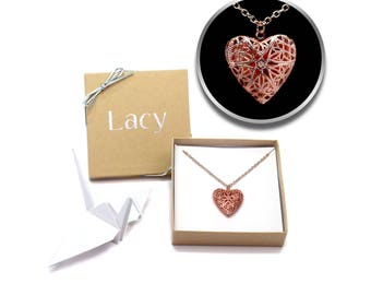 Rose Gold Heart Locket Necklace, Rose Gold Necklace for Girlfriend, Photo Locket, Picture Locket, Girlfriend Gift, Valentines Gift for Her