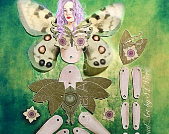 Autumn Olive Fairy, paper doll, fairy doll, Faerie, Digital Download, art doll, paper fairy,purple, green, articulated, posable, cut out