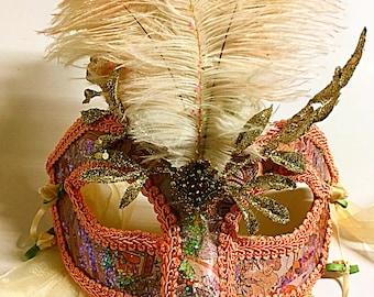 Nouveau, Mardi Gras mask, feathered mask, masquerade mask, gala mask, theme mask, art mask, party mask, festival mask, peach mask, halloween