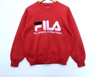 Fila Sweatshirt Big Logo spell out Embroidery Sweat Medium Size Jumper Pullover Jacket Sweater Shirt Vintage 90's