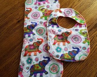 Elephant burp cloth and bib set