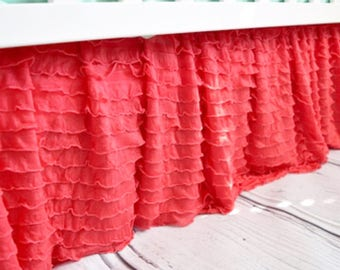 Coral Crib Skirt - Ruffle Crib Skirt - Coral Crib Skirt - Baby Bed Skirt- Long Crib Skirt - Ruffled Crib Skirt Baby Nursery Baby Room Decor