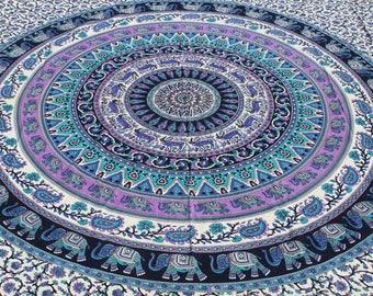 Boho Queen Size Mandala Tapestry - Black Elephant