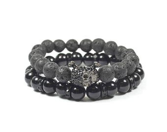 2 Pack Skull and Lava Rock Bracelet Set