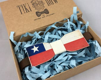 """Wooden Bow Tie """"Straight"""" shape with Chilean flag colours"""