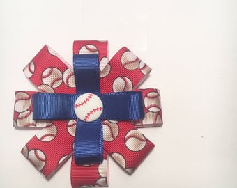 Cubs Inspired basebal l bow