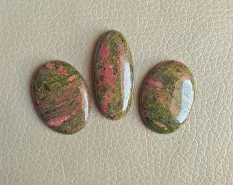 Natural Unakite 03 Piece Jasper Cabochons, Unakite Jasper Stone Weight 134 Carat and Size 40x18x8, 34x25x7, 33x24x7 MM Approx.