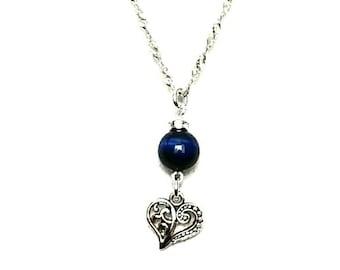 Blue tiger eye charm necklace.