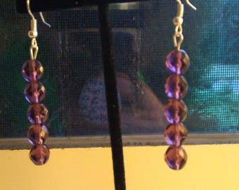 Handcrafted purple crystal earrings