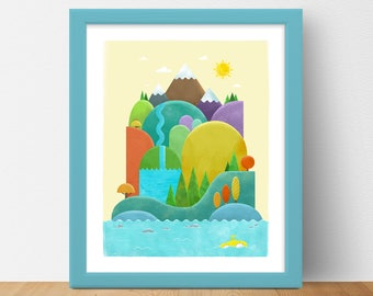 Island of Discovery - Day | Art Print | Wall Art | Gift Idea | Landscape Art | Discovery Series