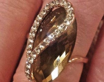 14 k Gold Plated Elongated Smoky Topaz & Clear Crystal Ring, Size 6