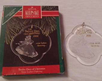 Twelve Days Of Christmas Acrylic Ornament Hallmark 9th In Collector's Series Dated 1992 Nine Ladies Dancing Vintage Holiday Christmas