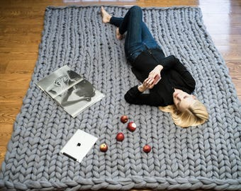 Rectangular rug in giant merino wool.  Handmade. Product Italia-Rug carpet giant merino wool yarn SALES discounts Offer
