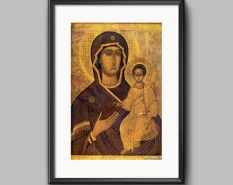 Russian Orthodox Icon Virgin Mary Hodegetria INSTANT DOWNLOAD Byzantine Icon Christian Home Decor Print Virgin Mary Gift Orthodox Wall Decor