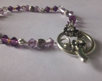 Purple, and silver bracelet