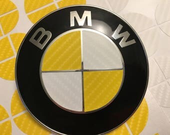 Yellow and White Carbon Fiber Vinyl Overlay Decal for ALL BMW Emblems