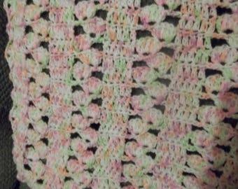 Handmade Crochet Off Set Shells Baby Blanket