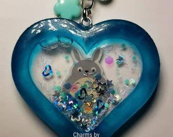 Totoro Heart Resin Shaker Charm
