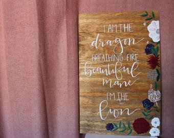 "Beyonce Lyrics Sign - 15.5""x24"" - Hand-Lettered and Hand-Stained Wood Sign"