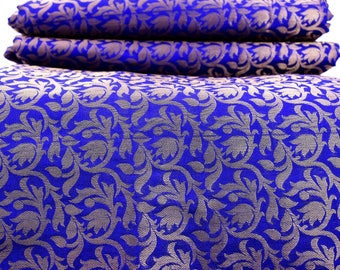 Silk Brocade Fabric Remnant in Blue and Gold - Gold Banarasi Silk Fabric by the yard - Dress Material for Weddings
