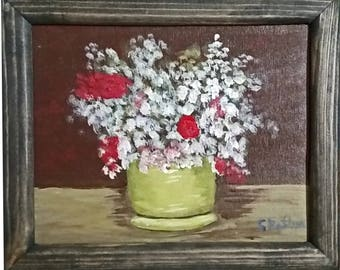 Still Life - Flowers In A Vase On A Table with frame