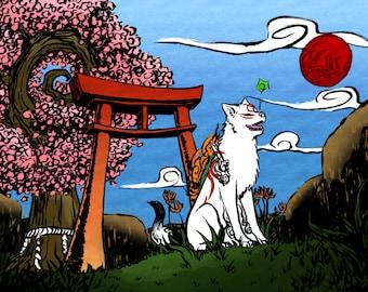 "Amaterasu 11x17"" art print | Okami | Decor | Gaming"