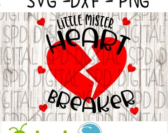 Little Mister Heart Breaker Svg, Valentine's Day Svg, DXF, PNG, SVG, files for Cameo and Cricut
