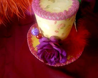 STEAMPUNK mini hat Mad Hatter Alice in Wonderland Lolita red cosplay or display