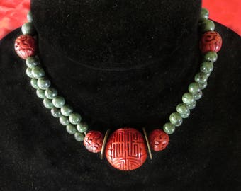 Vintage Cinnabar and Wyoming Jade Choker Necklace with Antique Chinese Coins