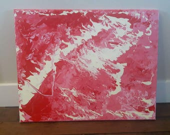 "Acrylic Pour Artwork // Abstract Art // Acrylic Painting // Original Painting // Wall Art // Home Decor // Colorful Artwork // ""Coral"""