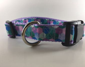 Purple Blue Green Hexagon Dog Collar