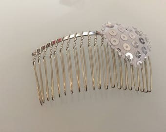 Flower bow silver hair comb