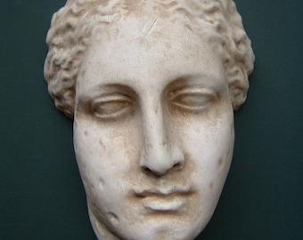Greek Goddess wall plaque in classical stone finish 27cm x 17cm