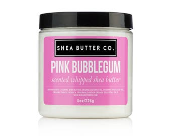 Pink Bubblegum Whipped Shea Butter, Scented Shea Butter, Shea Body Butter, Vegan Body Butter, Organic Moisturizer, Gifts for Kids Girls