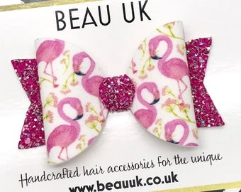 pink flamingo flamingoes fabric & glitter Medium hair bow clip headband hair accessories nylon hair piece