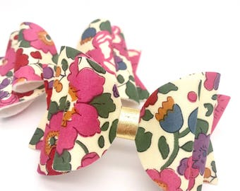 Liberty pink gold blooms flowers floral fabric Medium hair bow clip headband hair accessories