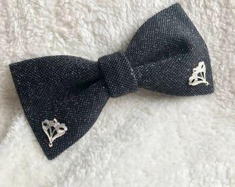 Women's black bow tie / Valentine's Day present / Valentine's bow tie / Gift for her