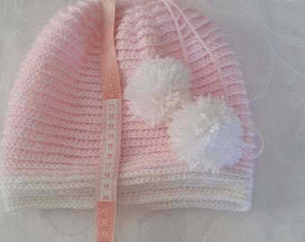 Needle work beret with pompom for girls