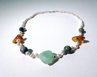 Pearl necklace, amber, agate and silberauge