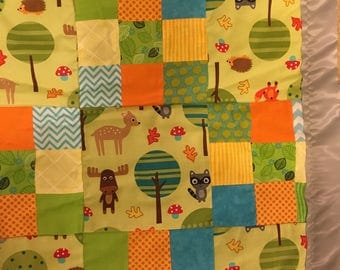 Green Woodland Creatures Baby Quilt 36 x 48 in