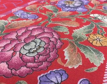 Vintage 70s Linen Mix: 50cmx 1, 40m flowers red