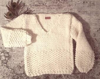 Chunky knit Sweater jumper 100% wool handmade