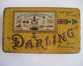 Darling Gold Tipped Cigarette Tin (100/empty) by Ed Laurens c.1910