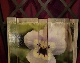 Purple pansy wood art
