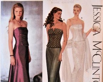 Simplicity 9484.  Jessica McClintock Evening wear pattern.  Bustier and skirt pattern. Bridesmaid dress pattern. Prom dress. Sizes 12-18.