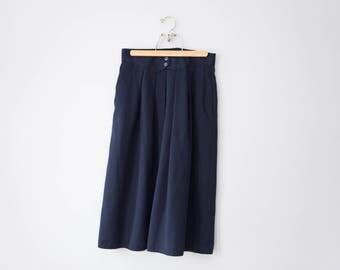 Vintage Navy Midi Skirt // 1990's Long Navy Skirt // Women's Size Large // Size 14