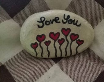 Hand painted Valentine's day heart rock
