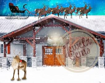 Reindeer Ranch Digital Backdrop, Reindeer Ranch Digital Background, North Pole Digital Backdrop, North Pole Digital Background, Santa Sleigh