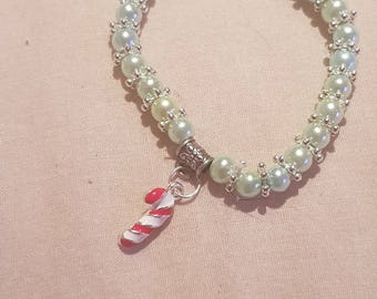 New kids 6mm Pearls Beads stretch bracelet with christmas can