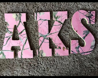 Pink camo letters | Etsy